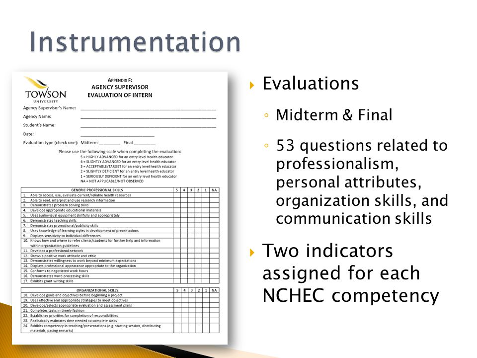  Evaluations ◦ Midterm & Final ◦ 53 questions related to professionalism, personal attributes, organization skills, and communication skills  Two indicators assigned for each NCHEC competency