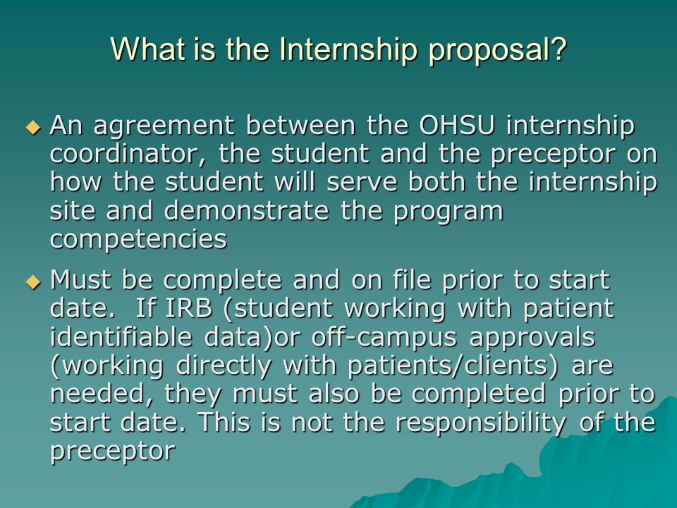 What is the Internship proposal.