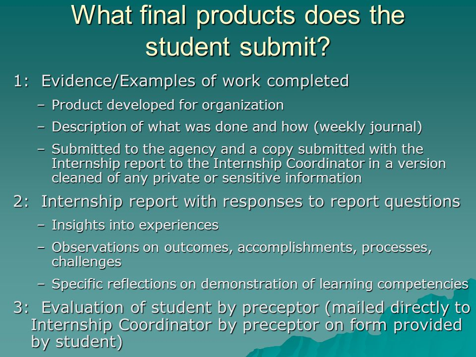 What final products does the student submit.