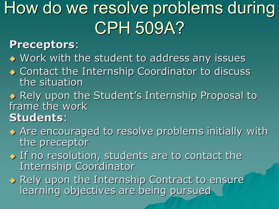 How do we resolve problems during CPH 509A.
