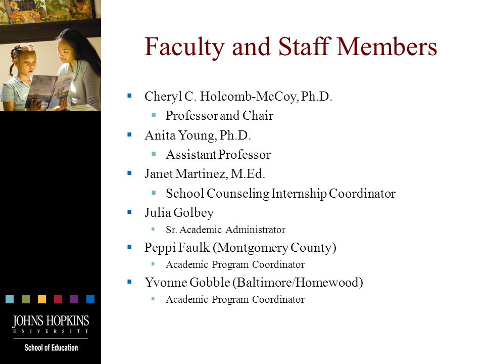 Faculty and Staff Members  Cheryl C. Holcomb-McCoy, Ph.D.