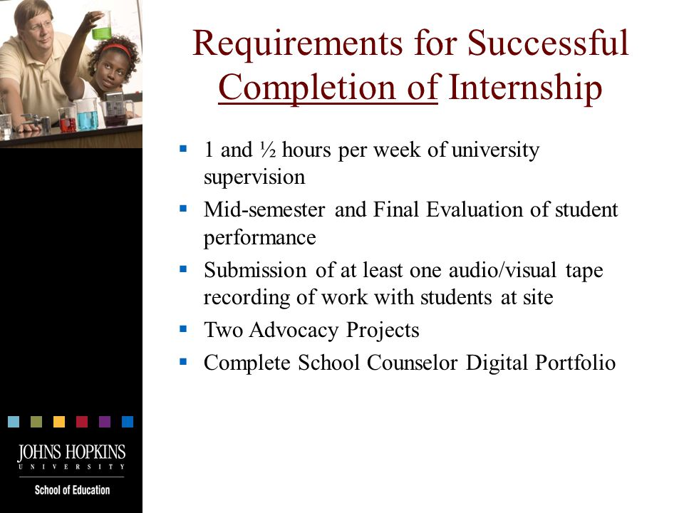 Requirements for Successful Completion of Internship  1 and ½ hours per week of university supervision  Mid-semester and Final Evaluation of student performance  Submission of at least one audio/visual tape recording of work with students at site  Two Advocacy Projects  Complete School Counselor Digital Portfolio