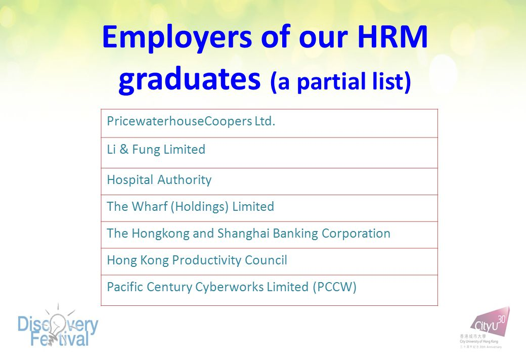 Employers of our HRM graduates (a partial list) PricewaterhouseCoopers Ltd. Li & Fung Limited Hospital Authority The Wharf (Holdings) Limited The Hong