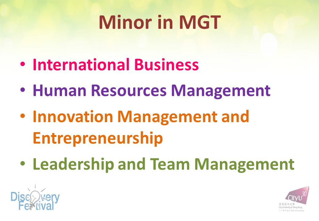 Minor in MGT International Business Human Resources Management Innovation Management and Entrepreneurship Leadership and Team Management
