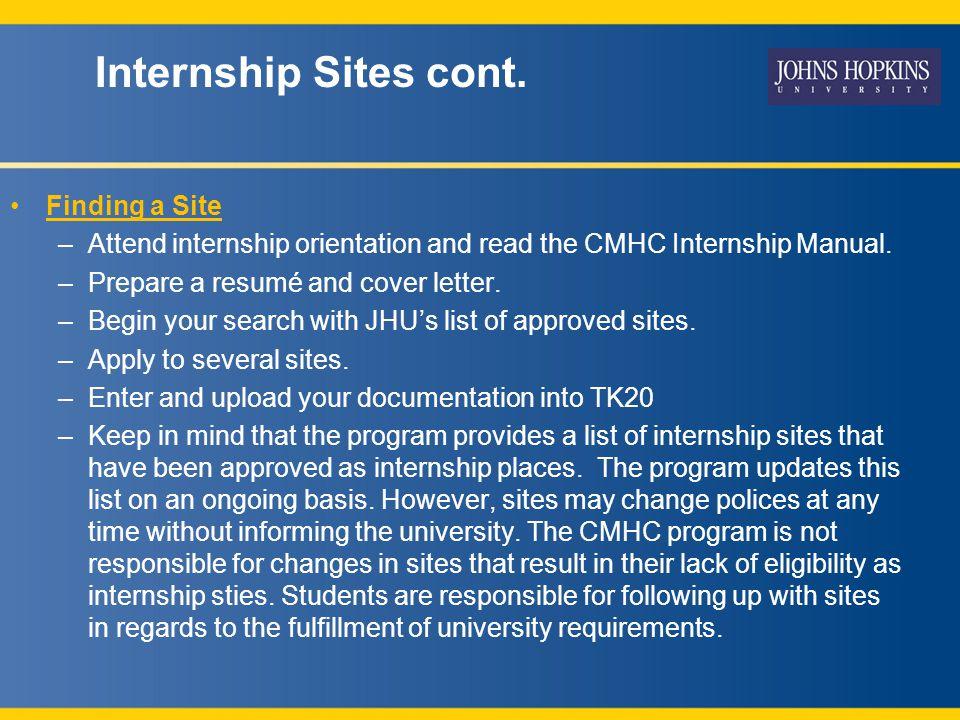 Internship Sites cont.