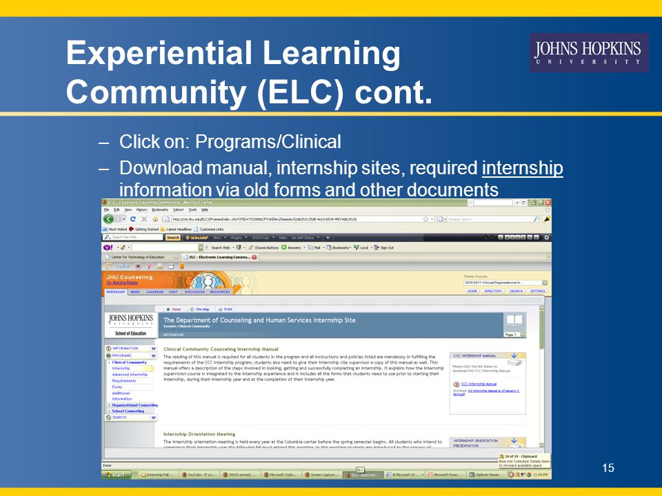Experiential Learning Community (ELC) cont.