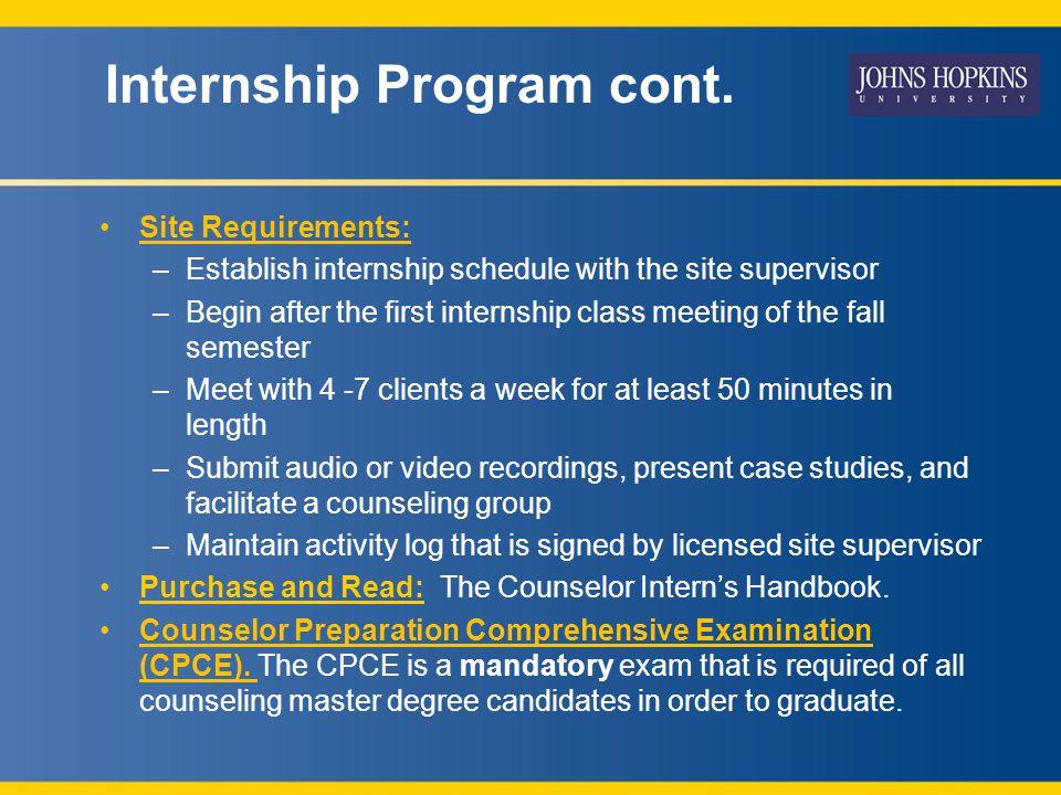 Internship Program cont.