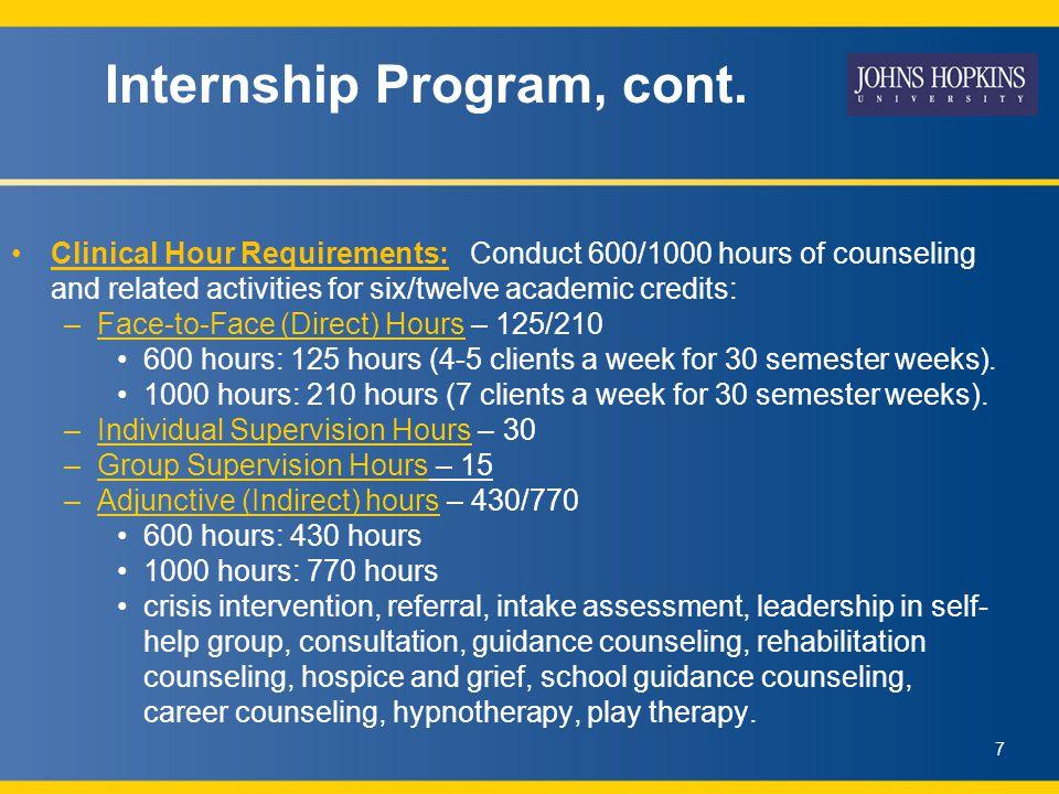 Internship Program, cont.