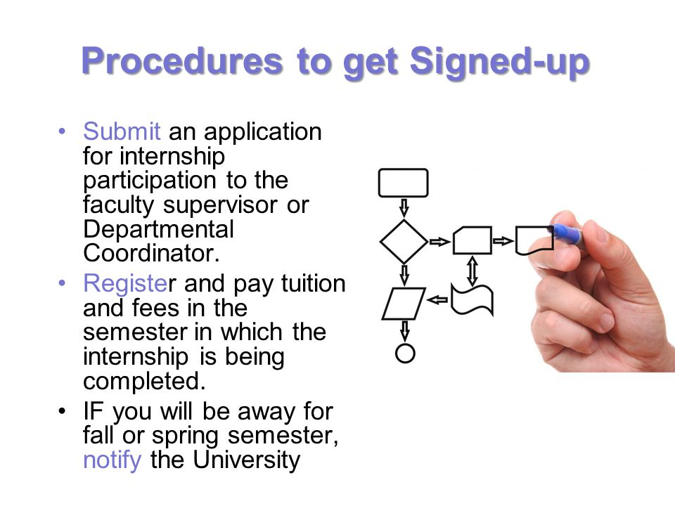 Procedures to get Signed-up Submit an application for internship participation to the faculty supervisor or Departmental Coordinator.