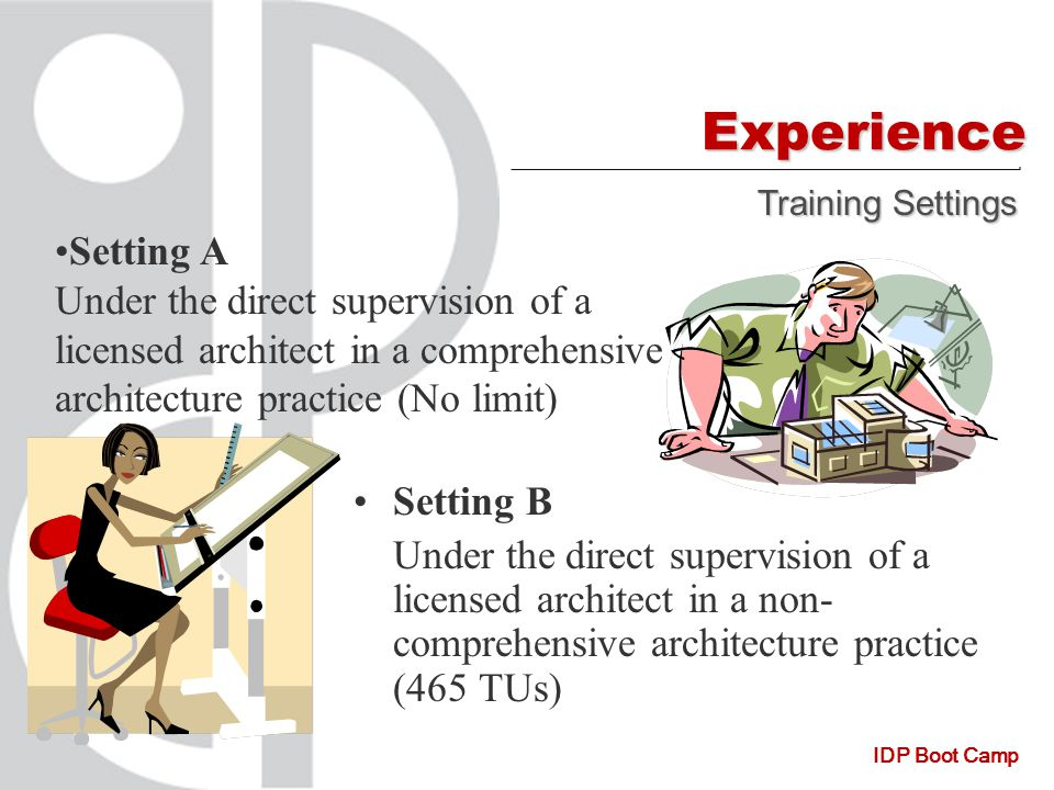IDP Boot Camp Experience Setting B Under the direct supervision of a licensed architect in a non- comprehensive architecture practice (465 TUs) Training Settings Setting A Under the direct supervision of a licensed architect in a comprehensive architecture practice (No limit)