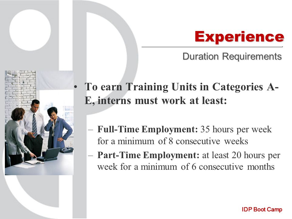 IDP Boot Camp Experience To earn Training Units in Categories A- E, interns must work at least: –Full-Time Employment: 35 hours per week for a minimum of 8 consecutive weeks –Part-Time Employment: at least 20 hours per week for a minimum of 6 consecutive months Duration Requirements