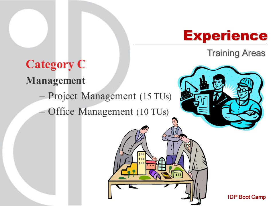 IDP Boot Camp Experience Category C Management –Project Management (15 TUs) –Office Management (10 TUs) Training Areas