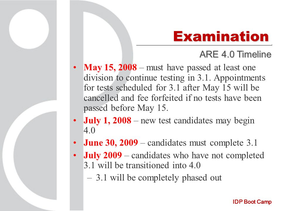 IDP Boot Camp Examination May 15, 2008 – must have passed at least one division to continue testing in 3.1.