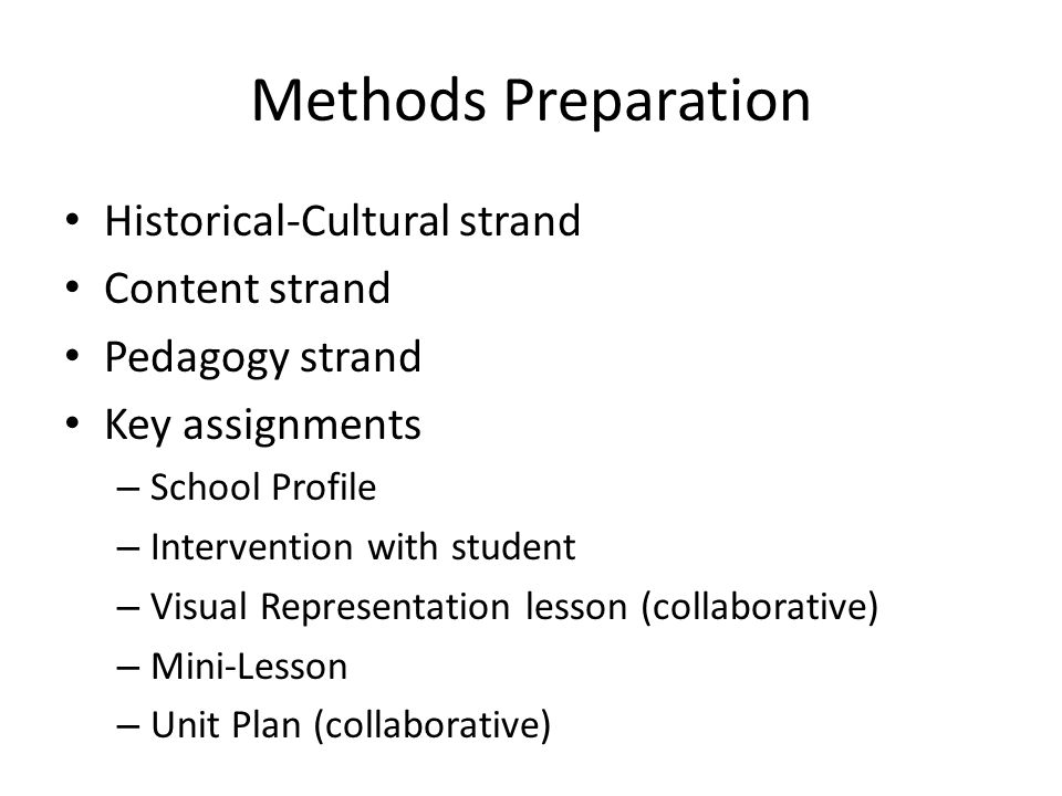 Methods Preparation Historical-Cultural strand Content strand Pedagogy strand Key assignments – School Profile – Intervention with student – Visual Re