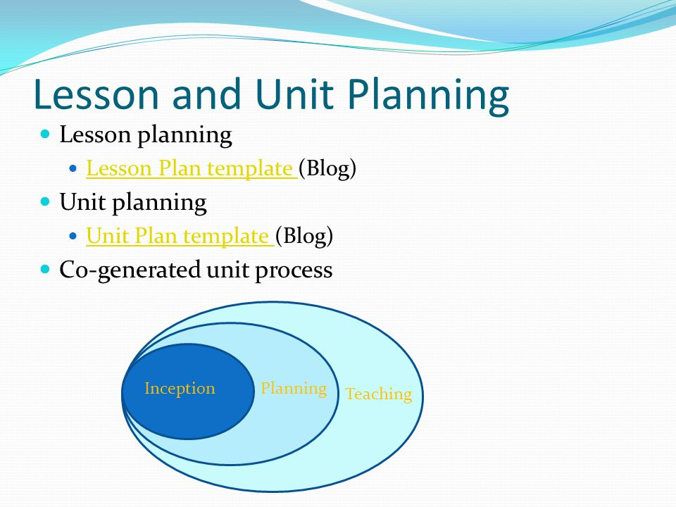 Lesson and Unit Planning Lesson planning Lesson Plan template (Blog) Lesson Plan template Unit planning Unit Plan template (Blog) Unit Plan template Co-generated unit process Teaching Planning Inception