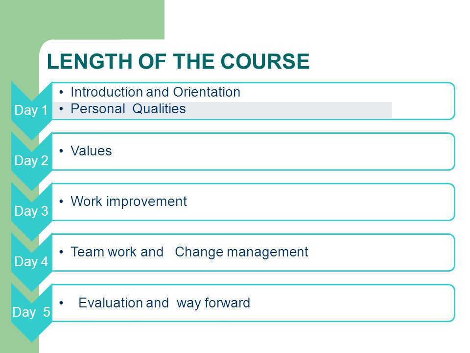 LENGTH OF THE COURSE Day 1 Introduction and Orientation Personal Qualities Day 2 Values Day 3 Work improvement Day 4 Team work and Change management Day 5 Evaluation and way forward