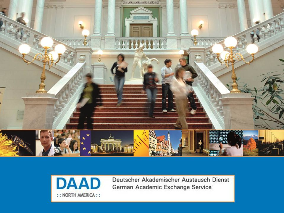 DAAD : : North America : : Deutscher Akademischer Austausch Dienst German Academic Exchange Service Group study visit Deadlines: November 1 (for trips between March 1 and June 1 of the following year) February 1 (for trips between June 1 and September 1 of the same year) May 1 ( for trips no earlier than September 1 of the same year)  Financial support for academic information visits to Germany for groups of students  Requirements: Group of 10 to 15 students plus one accompanying faculty member Trip for 7 to 12 days Visit should be organized entirely by the home institution Application: filed by a faculty member, including total budget, a detailed itinerary, specific information about relationship to the curriculum, application form  Up to € 9,600, depending on size of group and length of stay.