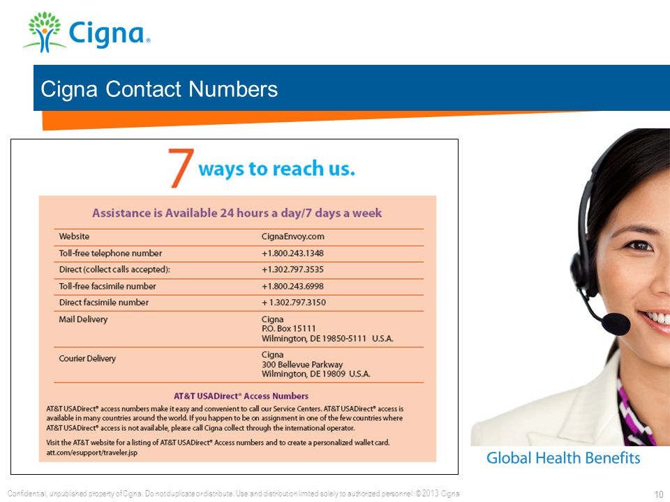 Cigna Contact Numbers 10 Confidential, unpublished property of Cigna. Do not duplicate or distribute. Use and distribution limited solely to authorize