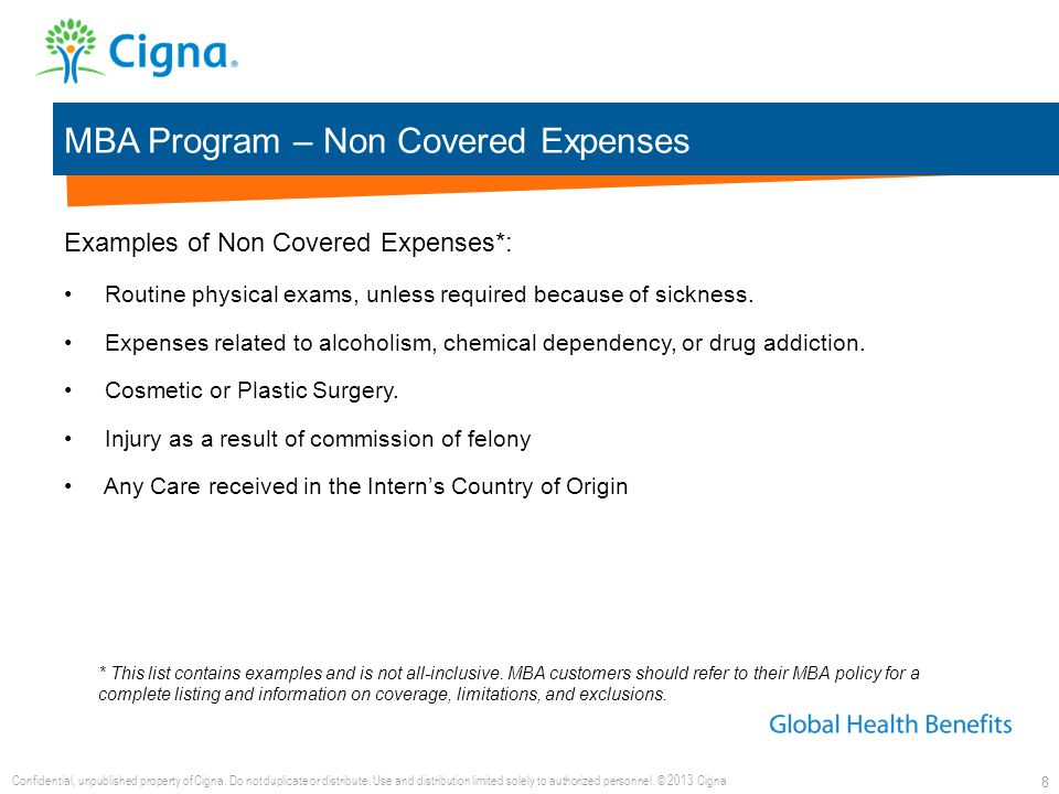 MBA Program – Non Covered Expenses 8 Examples of Non Covered Expenses*: Routine physical exams, unless required because of sickness. Expenses related