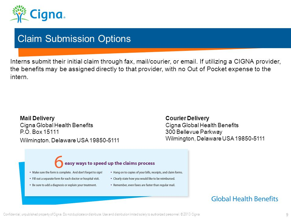 Claim Submission Options 9 Interns submit their initial claim through fax, mail/courier, or email. If utilizing a CIGNA provider, the benefits may be