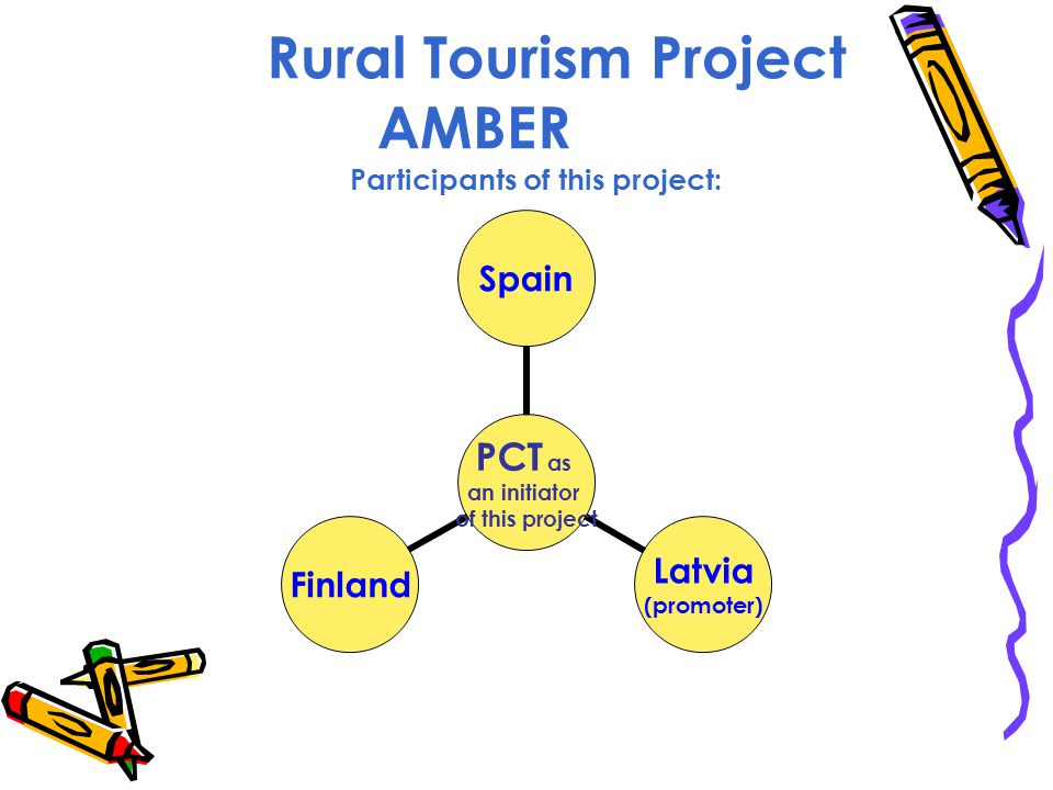 Rural Tourism Project AMBER Participants of this project: PCT as an initiator of this project Spain Latvia (promoter) Finland