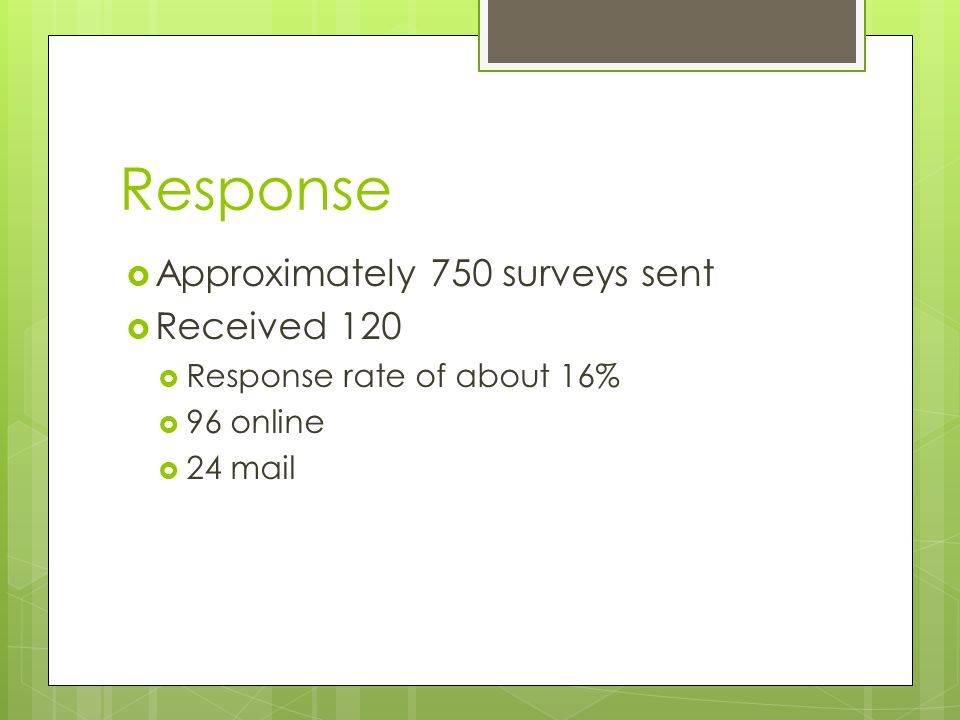 Response  Approximately 750 surveys sent  Received 120  Response rate of about 16%  96 online  24 mail