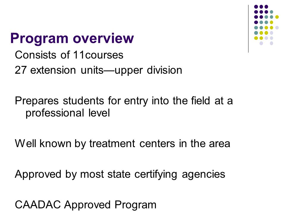 Program overview Consists of 11courses 27 extension units—upper division Prepares students for entry into the field at a professional level Well known