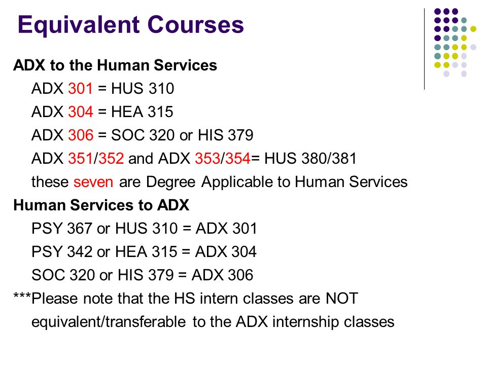 Equivalent Courses ADX to the Human Services ADX 301 = HUS 310 ADX 304 = HEA 315 ADX 306 = SOC 320 or HIS 379 ADX 351/352 and ADX 353/354= HUS 380/381
