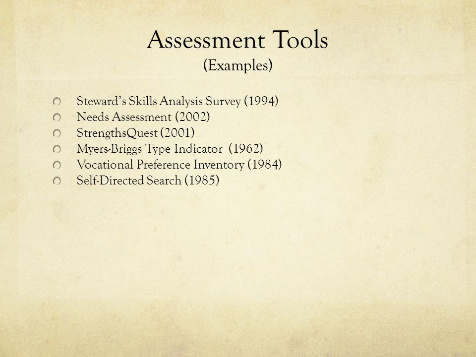 Assessment Tools (Examples) Steward's Skills Analysis Survey (1994) Needs Assessment (2002) StrengthsQuest (2001) Myers-Briggs Type Indicator (1962) Vocational Preference Inventory (1984) Self-Directed Search (1985)