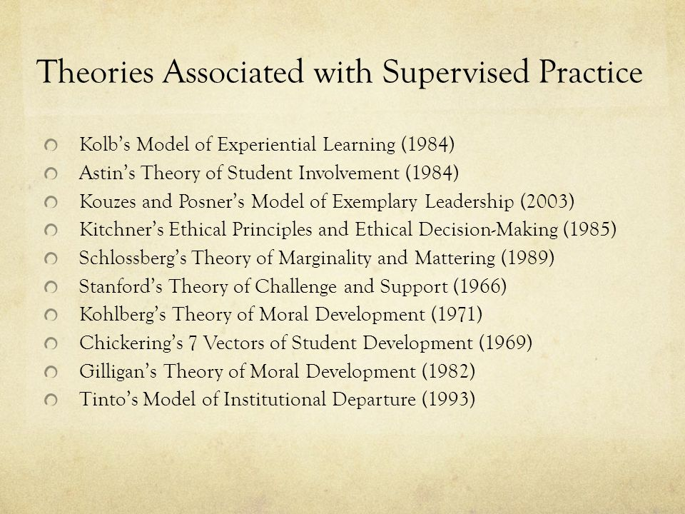 Theories Associated with Supervised Practice Kolb's Model of Experiential Learning (1984) Astin's Theory of Student Involvement (1984) Kouzes and Posner's Model of Exemplary Leadership (2003) Kitchner's Ethical Principles and Ethical Decision-Making (1985) Schlossberg's Theory of Marginality and Mattering (1989) Stanford's Theory of Challenge and Support (1966) Kohlberg's Theory of Moral Development (1971) Chickering's 7 Vectors of Student Development (1969) Gilligan's Theory of Moral Development (1982) Tinto's Model of Institutional Departure (1993)