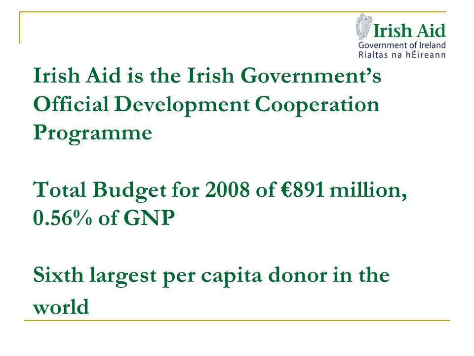 Irish Aid support for careers in in development Project support for 1,300 volunteer and development workers working with Irish Aid partners Support for development workers – Comhlámh's returned development workers programme, counselling, careers guidance Volunteering as a mid-career entry point – United Nations volunteer placements (full five yrs professional experience) internship programmes e.g.