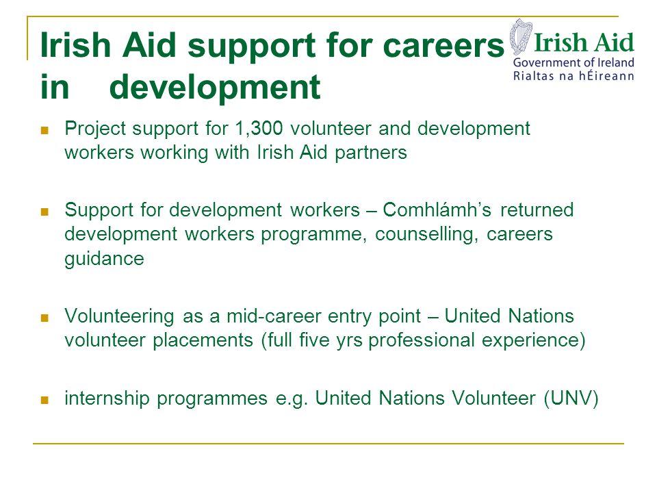 Why does Irish Aid fund UNV internships.