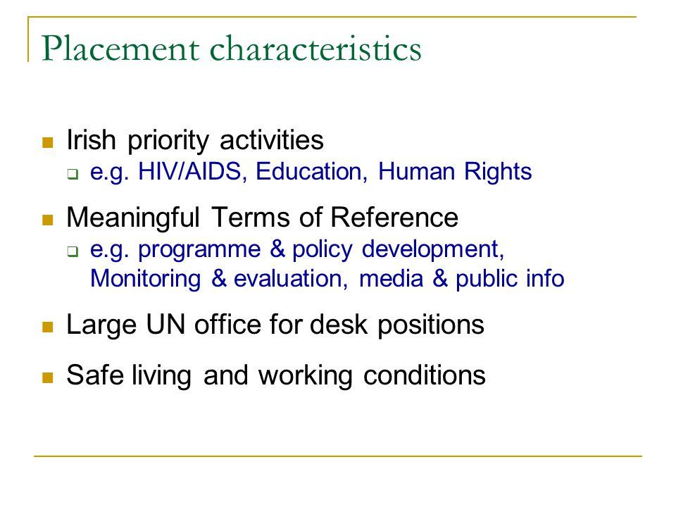 Placement characteristics Irish priority activities  e.g. HIV/AIDS, Education, Human Rights Meaningful Terms of Reference  e.g. programme & policy d