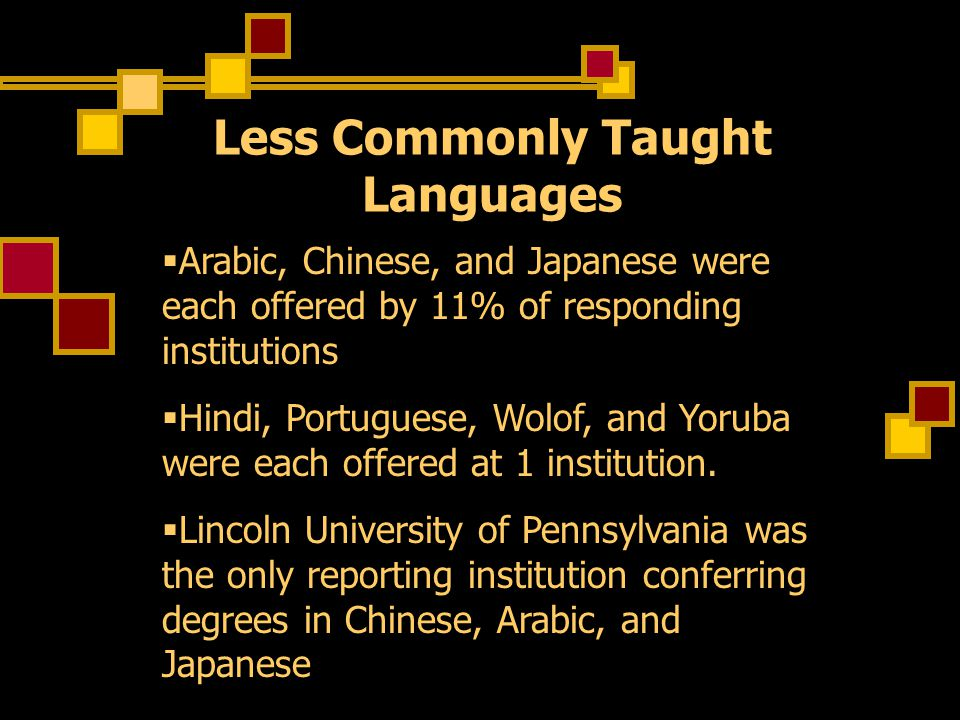 Less Commonly Taught Languages  Arabic, Chinese, and Japanese were each offered by 11% of responding institutions  Hindi, Portuguese, Wolof, and Yoruba were each offered at 1 institution.