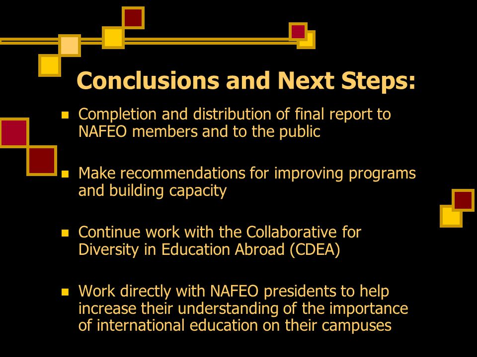 Conclusions and Next Steps: Completion and distribution of final report to NAFEO members and to the public Make recommendations for improving programs and building capacity Continue work with the Collaborative for Diversity in Education Abroad (CDEA) Work directly with NAFEO presidents to help increase their understanding of the importance of international education on their campuses