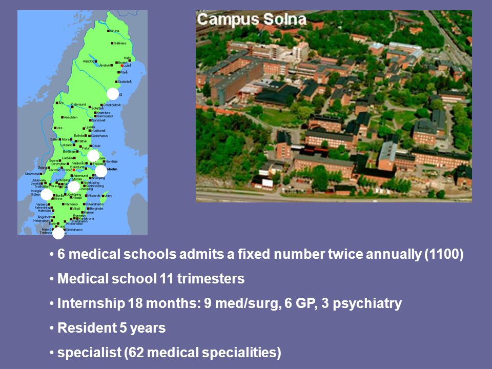 6 medical schools admits a fixed number twice annually (1100) Medical school 11 trimesters Internship 18 months: 9 med/surg, 6 GP, 3 psychiatry Reside