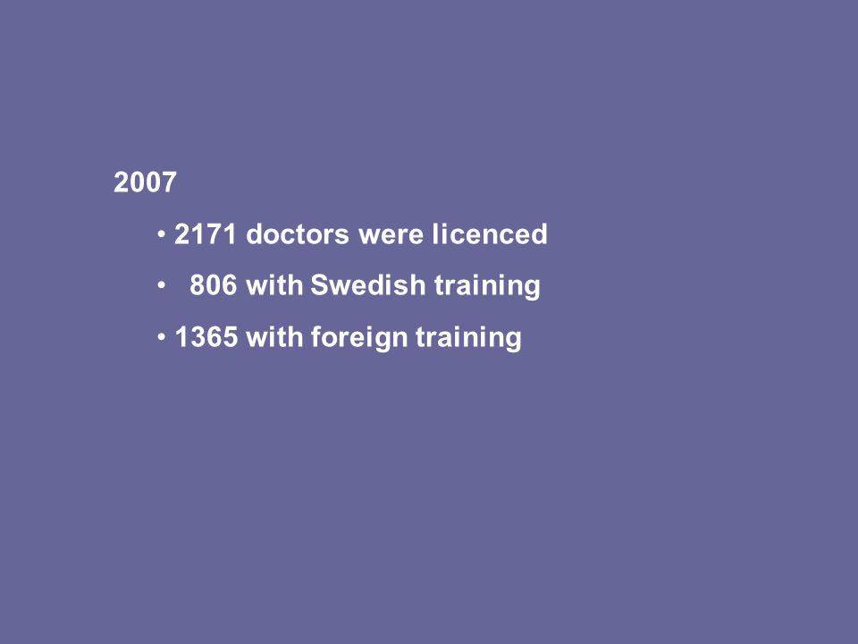 2007 2171 doctors were licenced 806 with Swedish training 1365 with foreign training