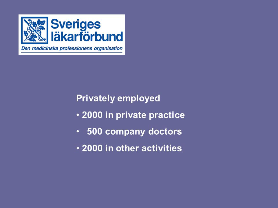 Privately employed 2000 in private practice 500 company doctors 2000 in other activities