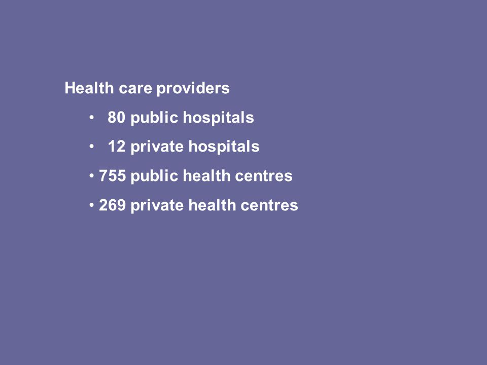 Health care providers 80 public hospitals 12 private hospitals 755 public health centres 269 private health centres