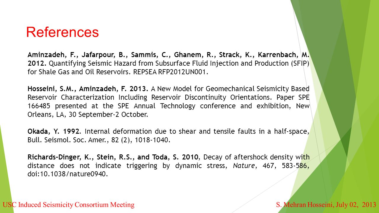 References Aminzadeh, F., Jafarpour, B., Sammis, C., Ghanem, R., Strack, K., Karrenbach, M.