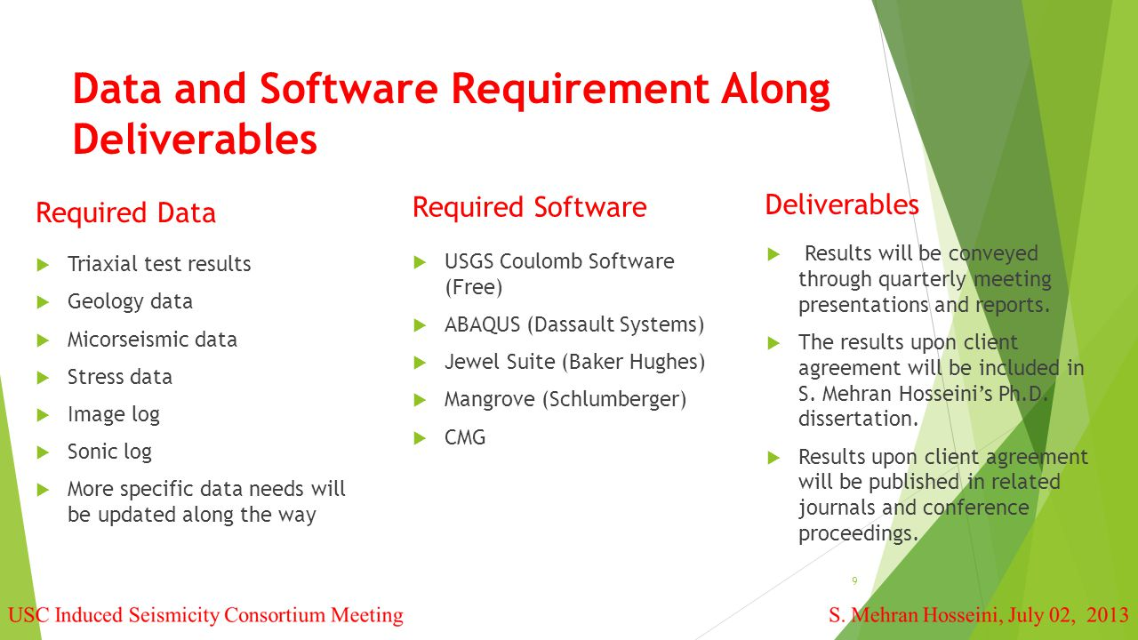 Data and Software Requirement Along Deliverables  Triaxial test results  Geology data  Micorseismic data  Stress data  Image log  Sonic log  More specific data needs will be updated along the way 9  Results will be conveyed through quarterly meeting presentations and reports.