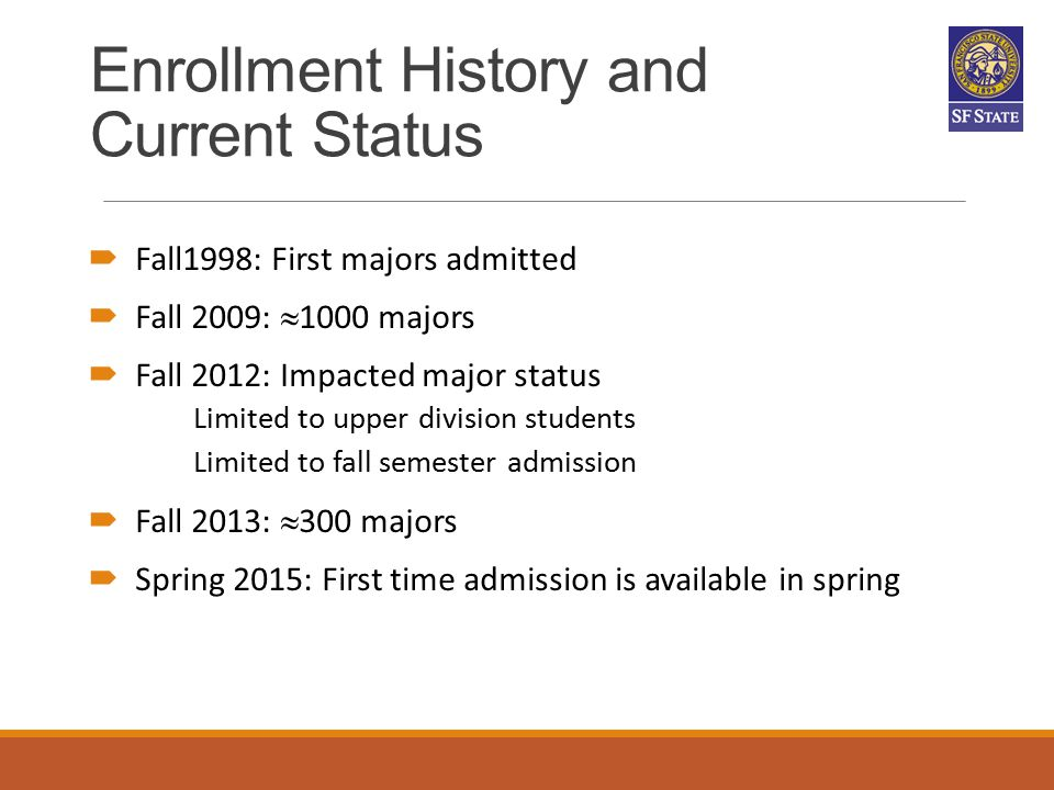 Enrollment History and Current Status  Fall1998: First majors admitted  Fall 2009:  1000 majors  Fall 2012: Impacted major status Limited to upper