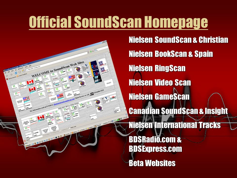 Official SoundScan Homepage Nielsen SoundScan & Christian Nielsen BookScan & Spain Nielsen RingScan Nielsen Video Scan Nielsen GameScan Canadian SoundScan & Insight Nielsen International Tracks BDSRadio.com & BDSExpress.com Beta Websites