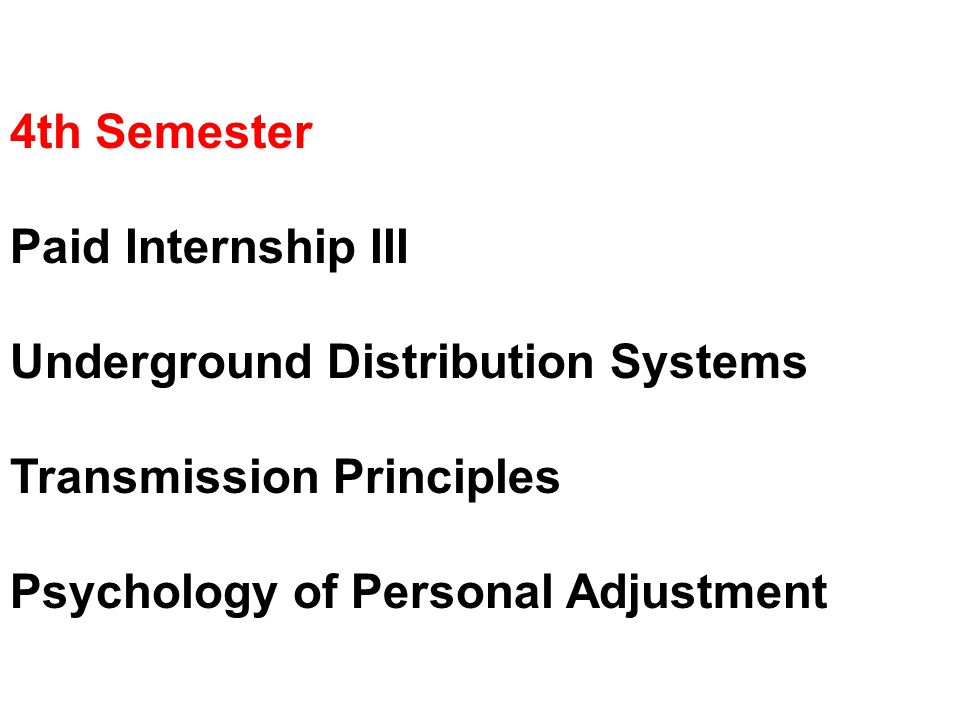 4th Semester Paid Internship III Underground Distribution Systems Transmission Principles Psychology of Personal Adjustment