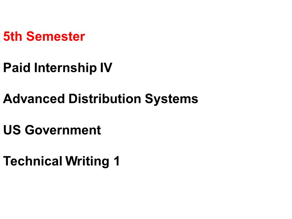 5th Semester Paid Internship IV Advanced Distribution Systems US Government Technical Writing 1