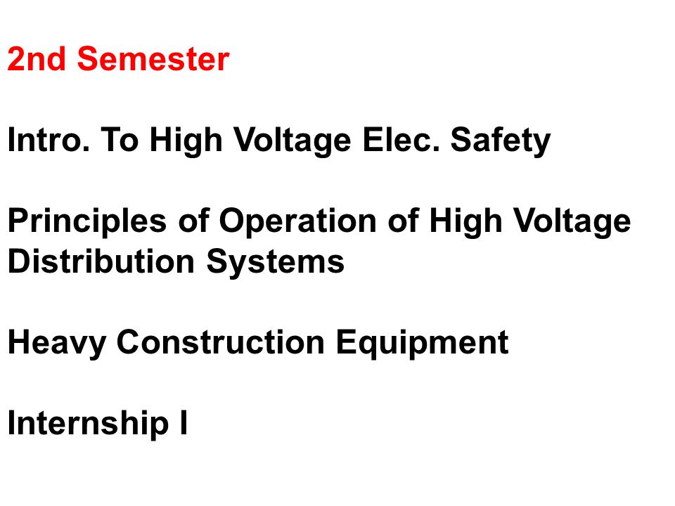 2nd Semester Intro. To High Voltage Elec.