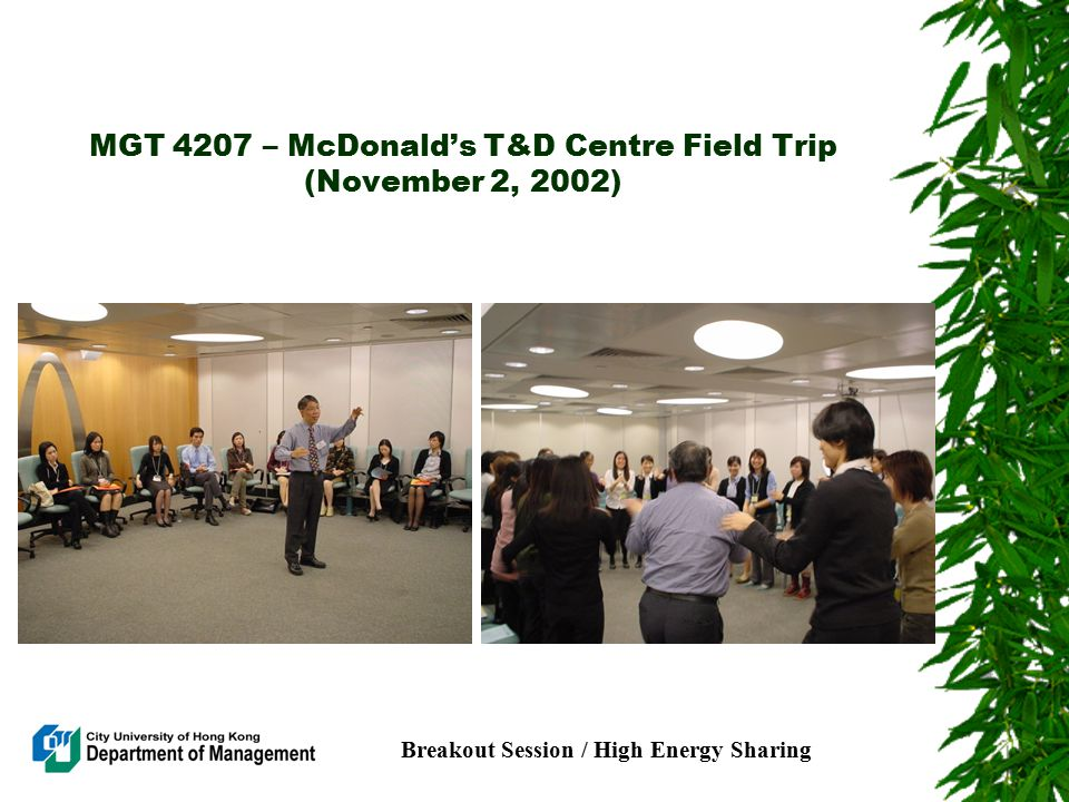MGT 4207 – McDonald's T&D Centre Field Trip (November 2, 2002) Breakout Session / High Energy Sharing