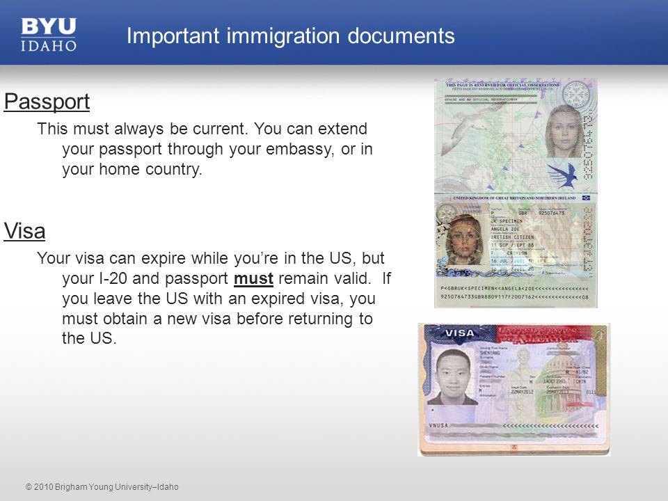 © 2010 Brigham Young University–Idaho Social Security Card or Denial Letter I-20 Passport Visa I-94 Driver's license