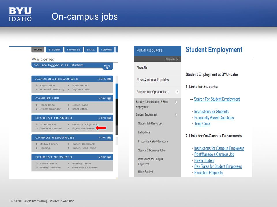 © 2010 Brigham Young University–Idaho On-campus jobs
