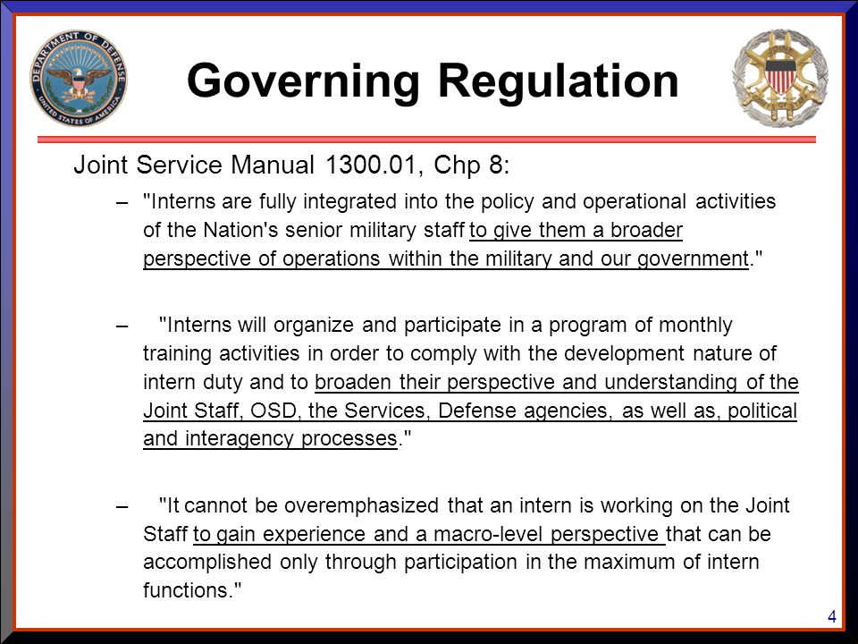 4 Joint Service Manual 1300.01, Chp 8: –